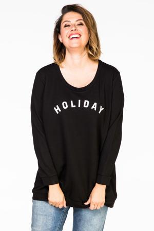 sweater met tekst zwart/wit