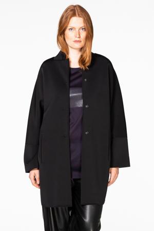 middellange coat van scubastof zwart