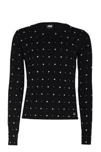 Jill & Mitch by Shoeby longsleeve Ever met all over print en kraaltjes zwart/wit, Zwart/wit