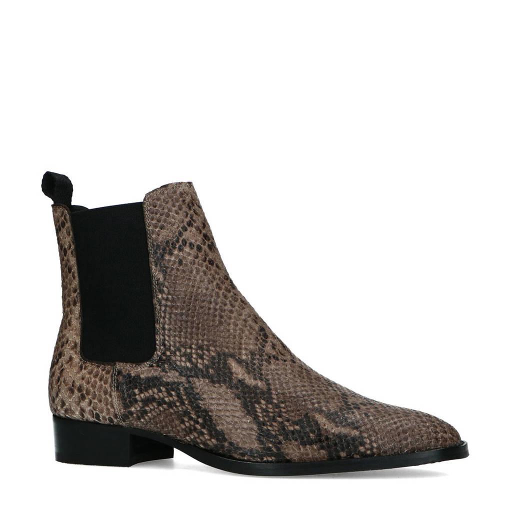 Sacha   leren chelsea boots met slangenprint bruin, Zwart