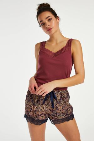 pyjamashort met paisleyprint donkerroze/grijs
