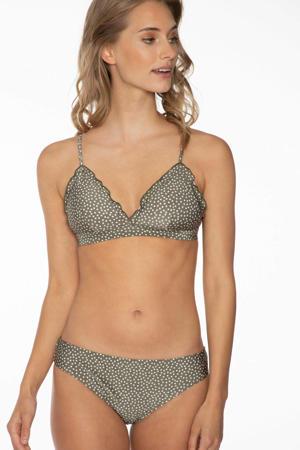 triangel bikini Hype met stippen en ruches olijfgroen