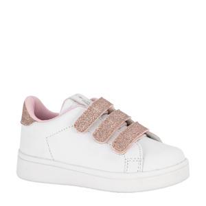 sneakers met glitters wit/roze