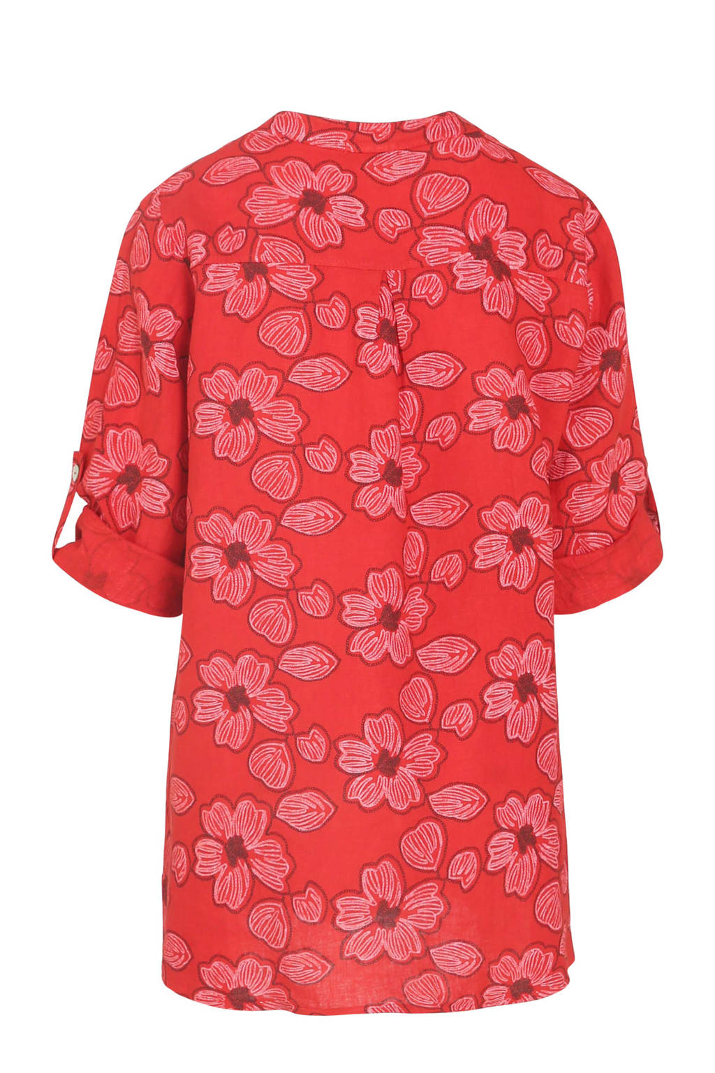 Cassis top met all over print rood, Rood