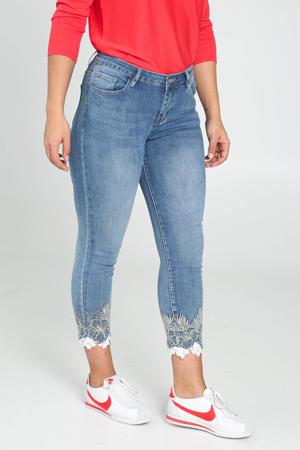 skinny jeans met borduursels light denim