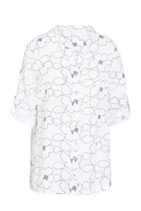Cassis top met all over print blanc, Blanc