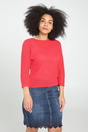 sweater met vleermuismouwen framboise