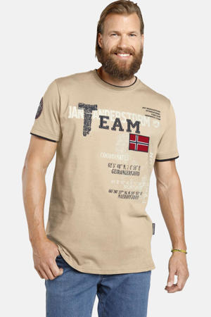 T-shirt Plus Size SÖLVE met printopdruk beige