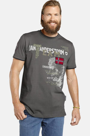 T-shirt Plus Size SÖLVE met printopdruk grijs