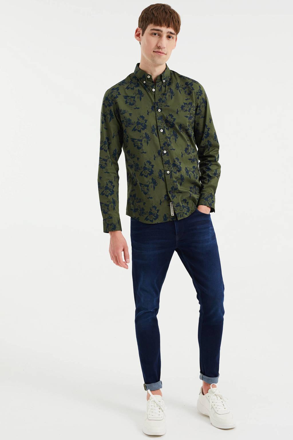 WE Fashion gebloemd slim fit overhemd forest night, Forest night