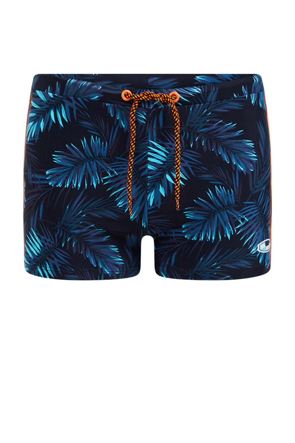 WE Fashion zwemboxer met blad rpint donkerblauw, Donkerblauw