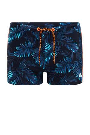zwemboxer met blad rpint donkerblauw