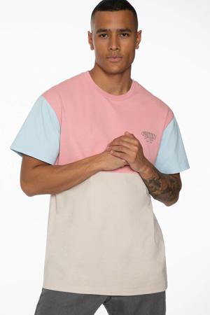 T-shirt Nestor roze/blauw/grijs