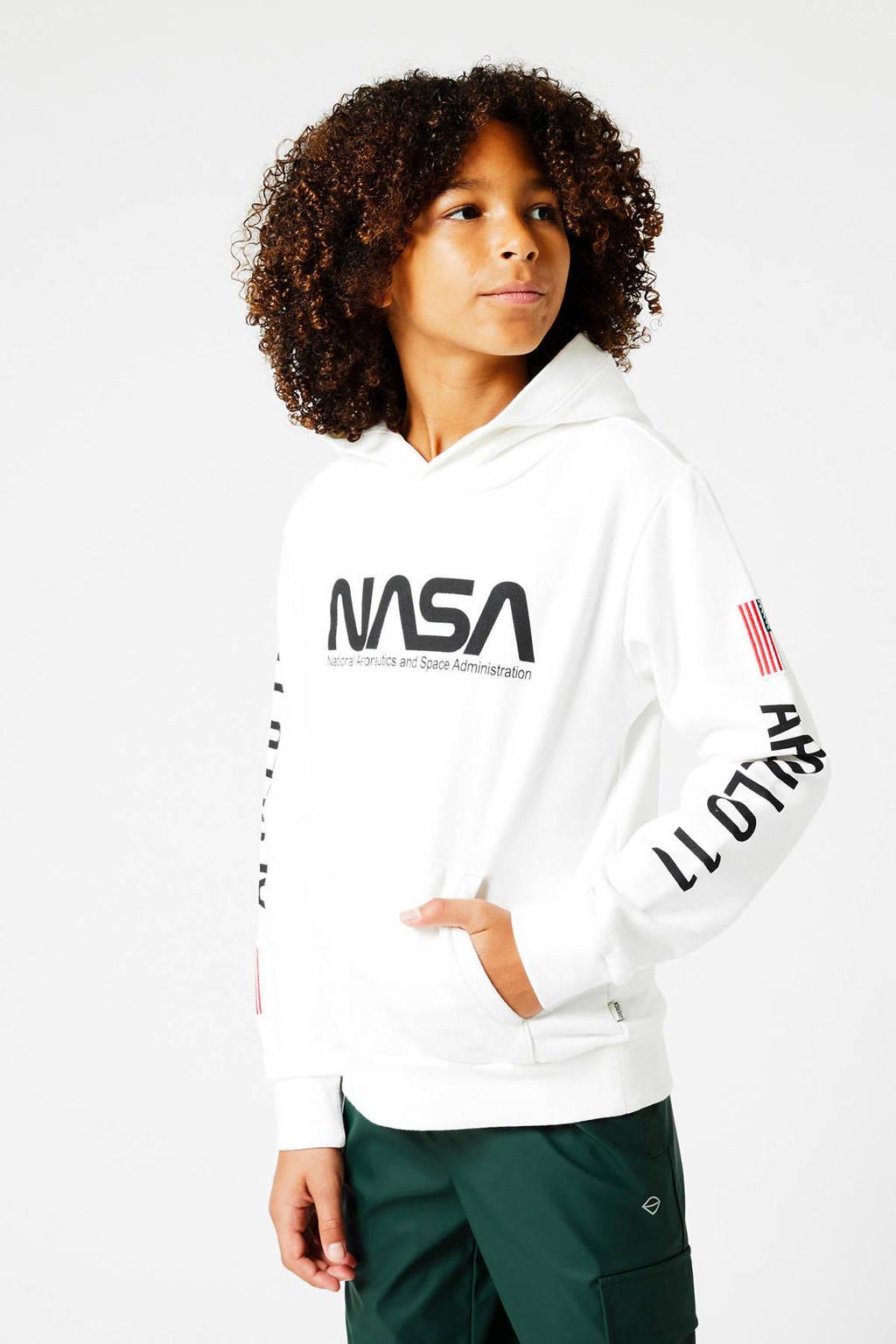 America Today Junior hoodie Nasa Semu met tekst ecru, Ecru