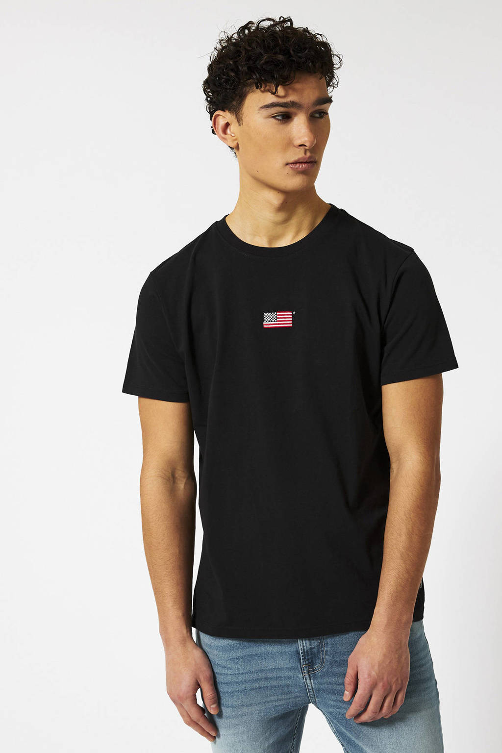 America Today T-shirt met borduursels zwart, Zwart
