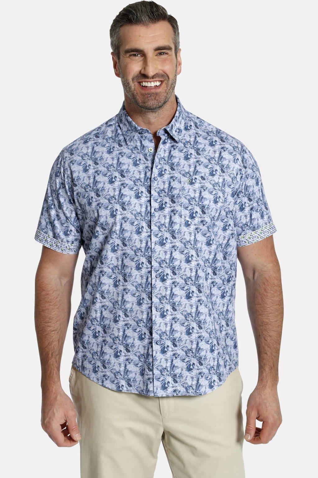 Charles Colby gebloemd overhemd Plus Size Duke Terrence blauw, Blauw