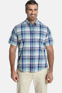 Charles Colby geruit oversized overhemd DUKE GRESHAM Plus Size blauw, Blauw
