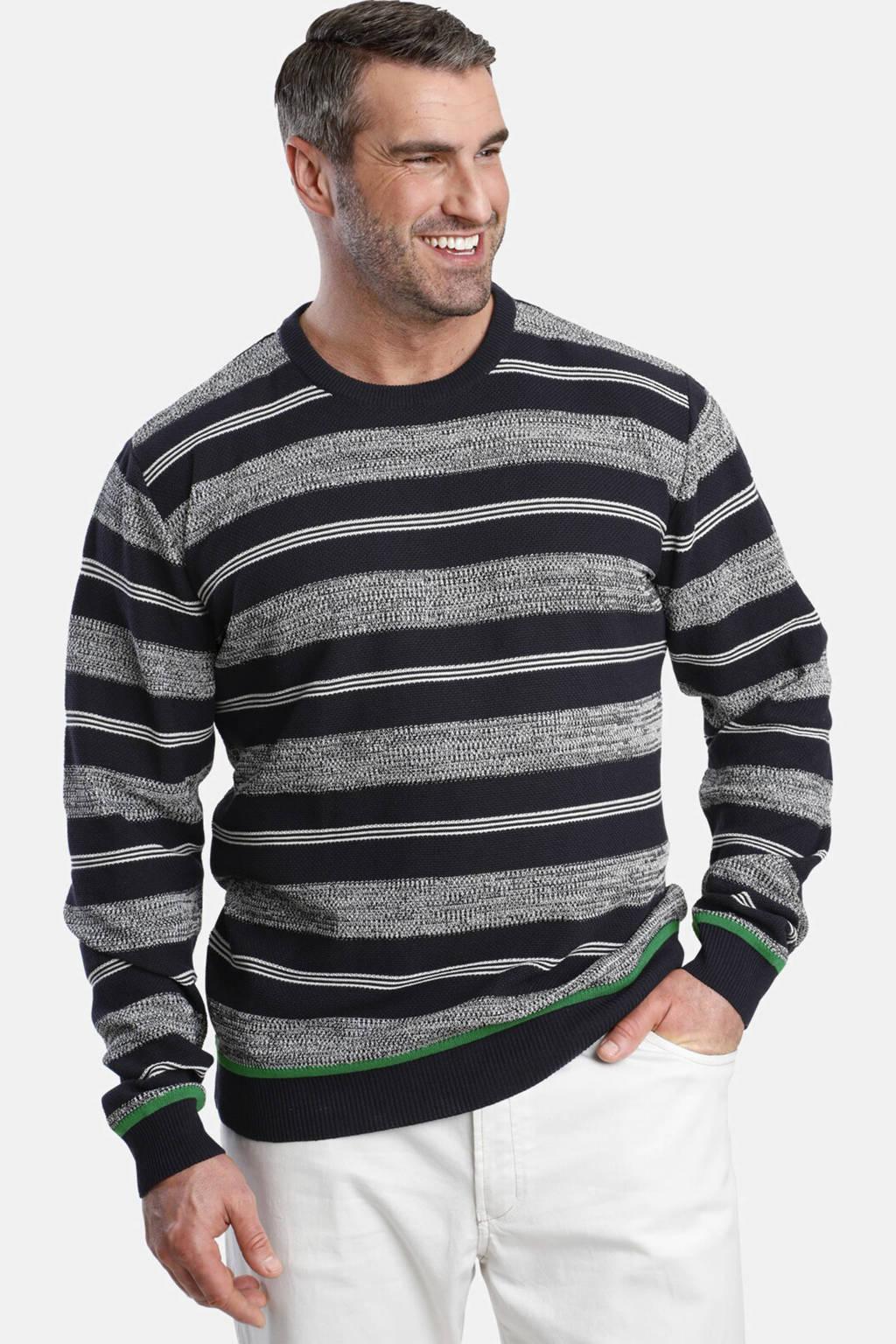 Charles Colby gestreepte trui Plus Size Earl Brodie donkerblauw, Donkerblauw