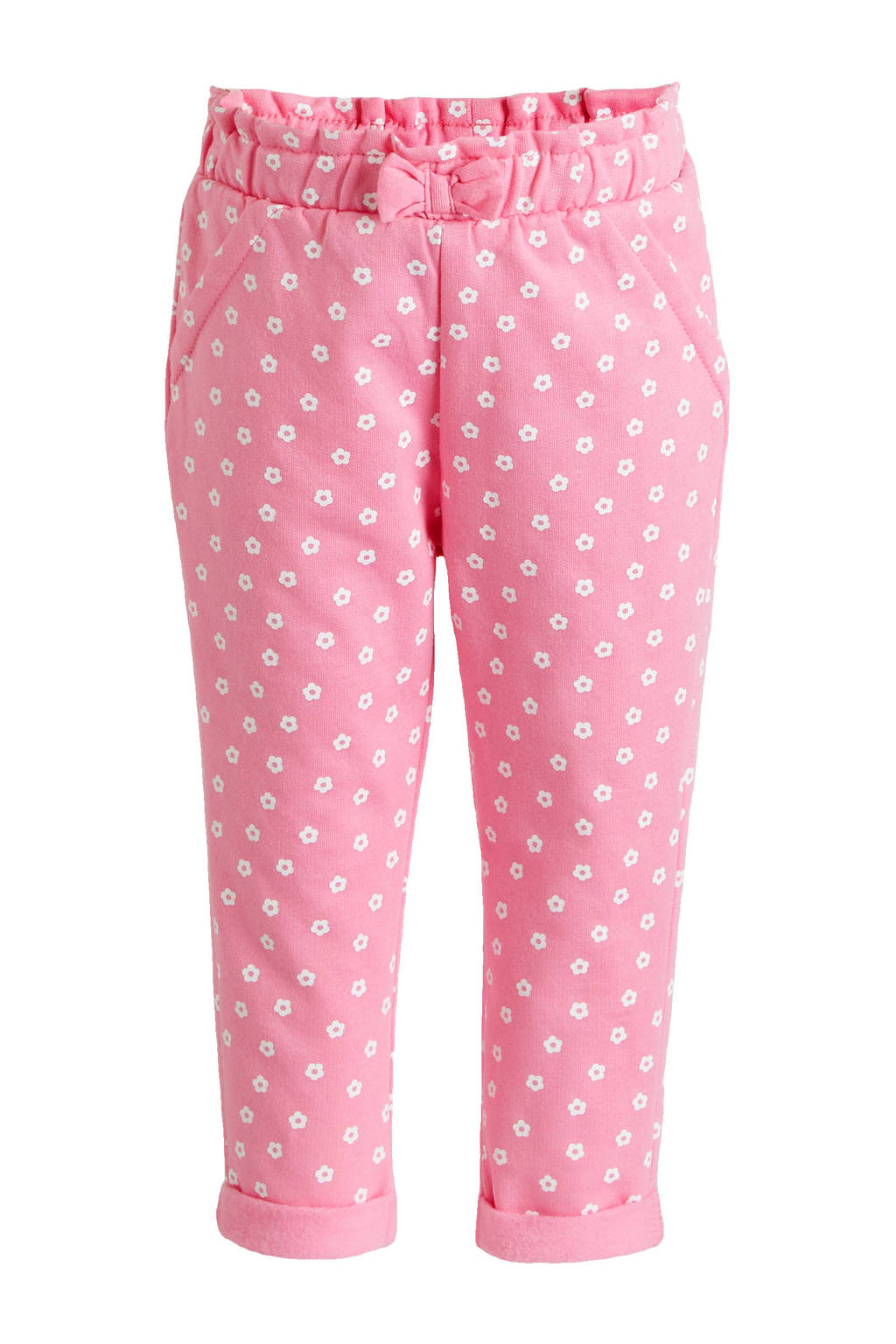 C&A Baby Club baby gebloemde broek van biologisch katoen roze/wit, Roze/wit