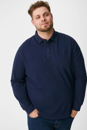 ribgebreide regular fit polo met tekst donkerblauw