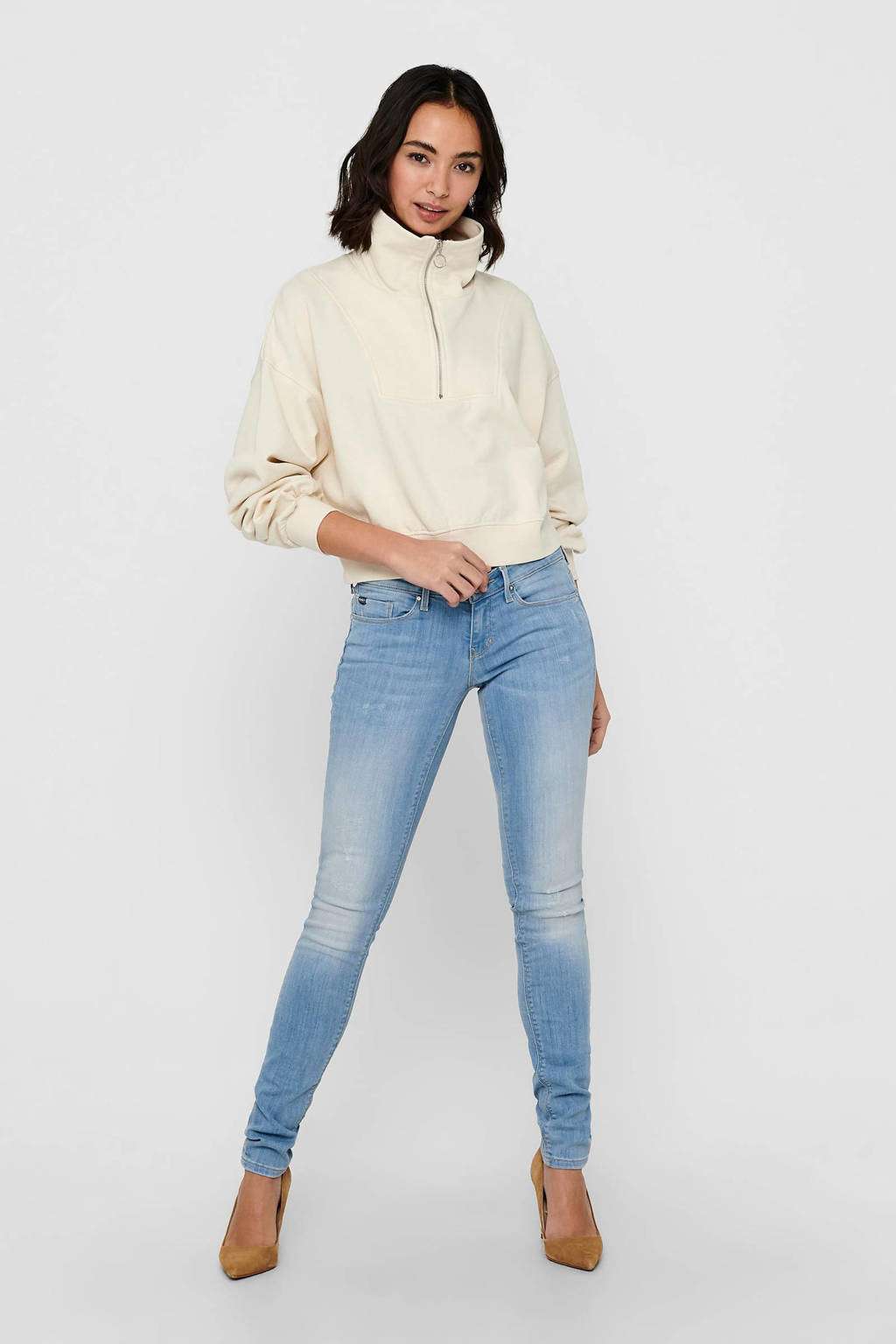 ONLY extra low waist skinny jeans ONLCORAL blue light denim, Blue light denim