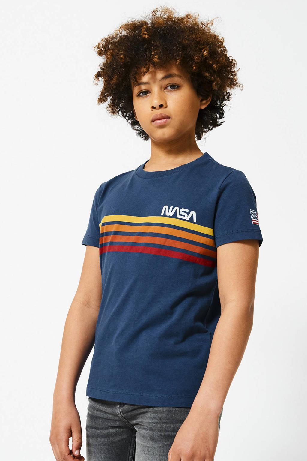 America Today Junior T-shirt Nasa met printopdruk blauw/geel/rood, Blauw/geel/rood
