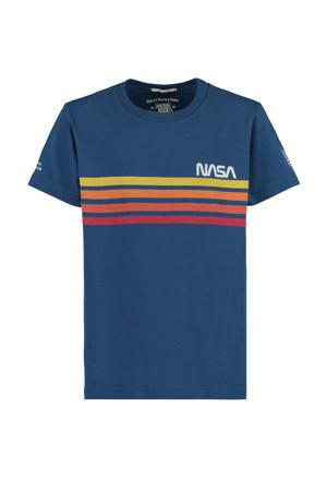 T-shirt Nasa met printopdruk blauw/geel/rood