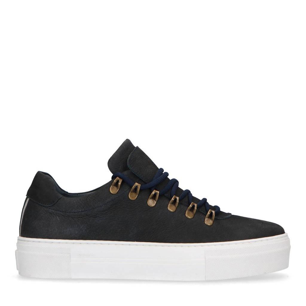Manfield   nubuck sneakers donkerblauw, Donkerblauw