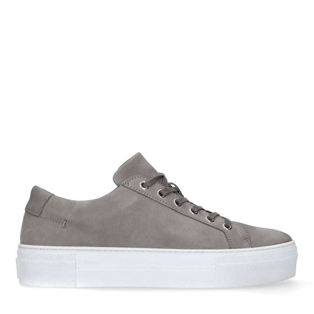 Manfield   nubuck sneakers taupe, Taupe/grijs