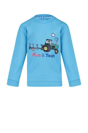 sweater Rens met printopdruk blauw