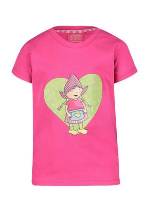 T-shirt Lou met printopdruk roze/groen