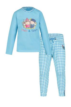 pyjama Moos met logo opdruk blauw/wit