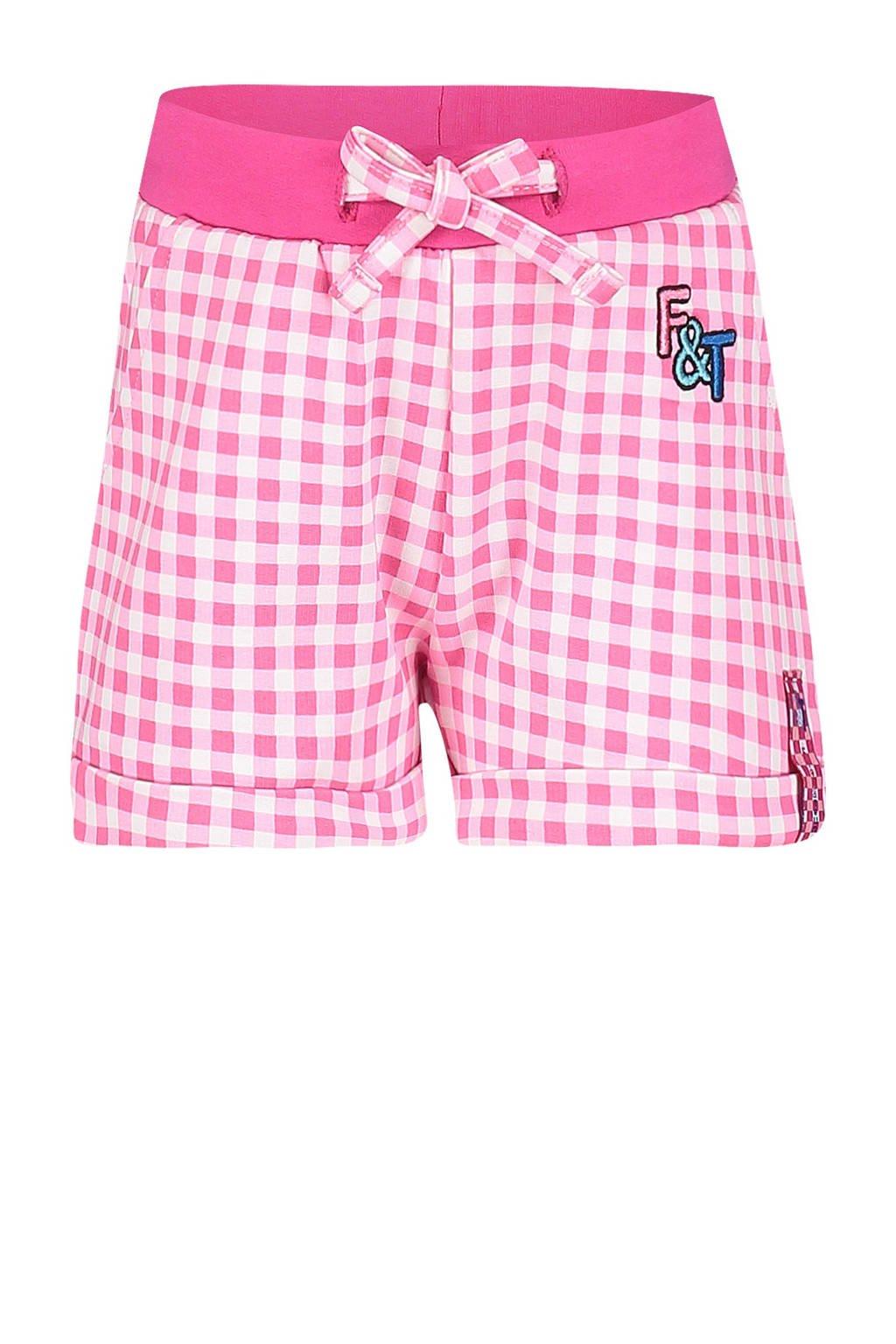 Fien & Teun geruite loose fit short Puk roze/wit, Roze/wit