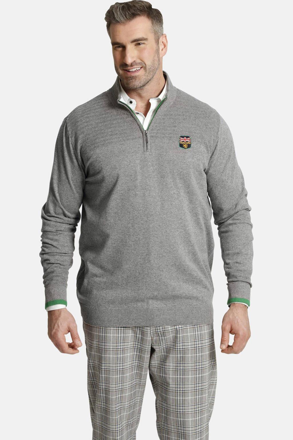 Charles Colby trui Plus Size met logo grijs, Grijs