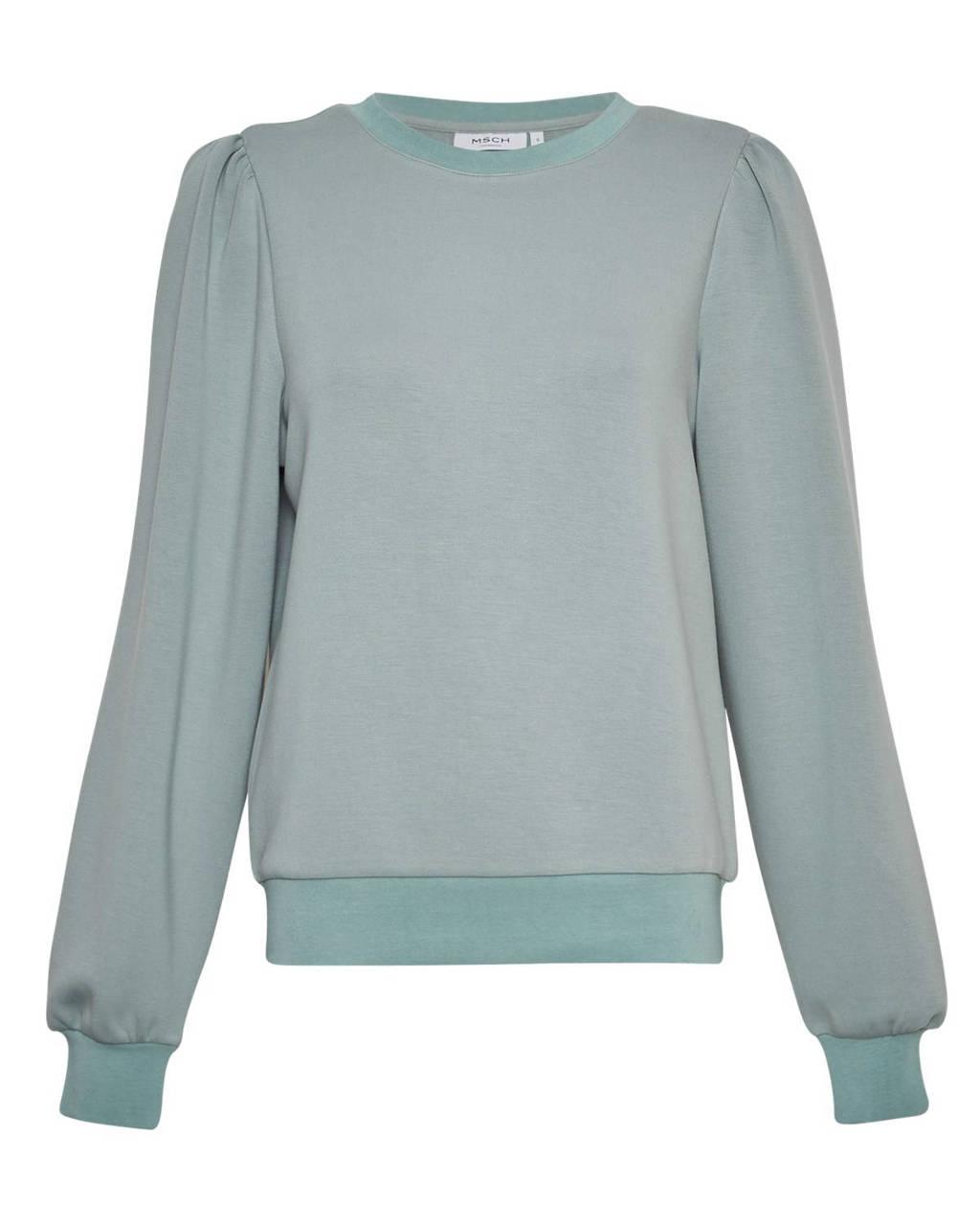 MSCH Copenhagen sweater Ima met plooien lichtgroen, Lichtgroen