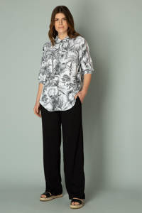 Yest blouse Ilya met all over print en open detail wit/zwart, Wit/zwart