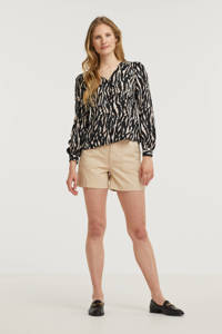 VERO MODA blouse VMSIMPLY  met panterprint bruin/zwart, Bruin/zwart