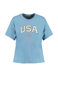 America Today T-shirt van biologisch katoen vintage blue, Vintage blue