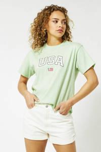 America Today T-shirt van biologisch katoen light green, Light Green