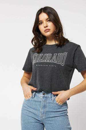 T-shirt met tekst antraciet