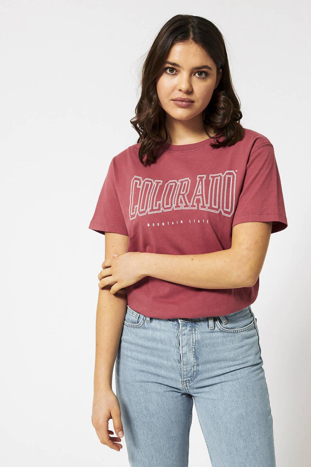 America Today T-shirt met tekst rood, Rood