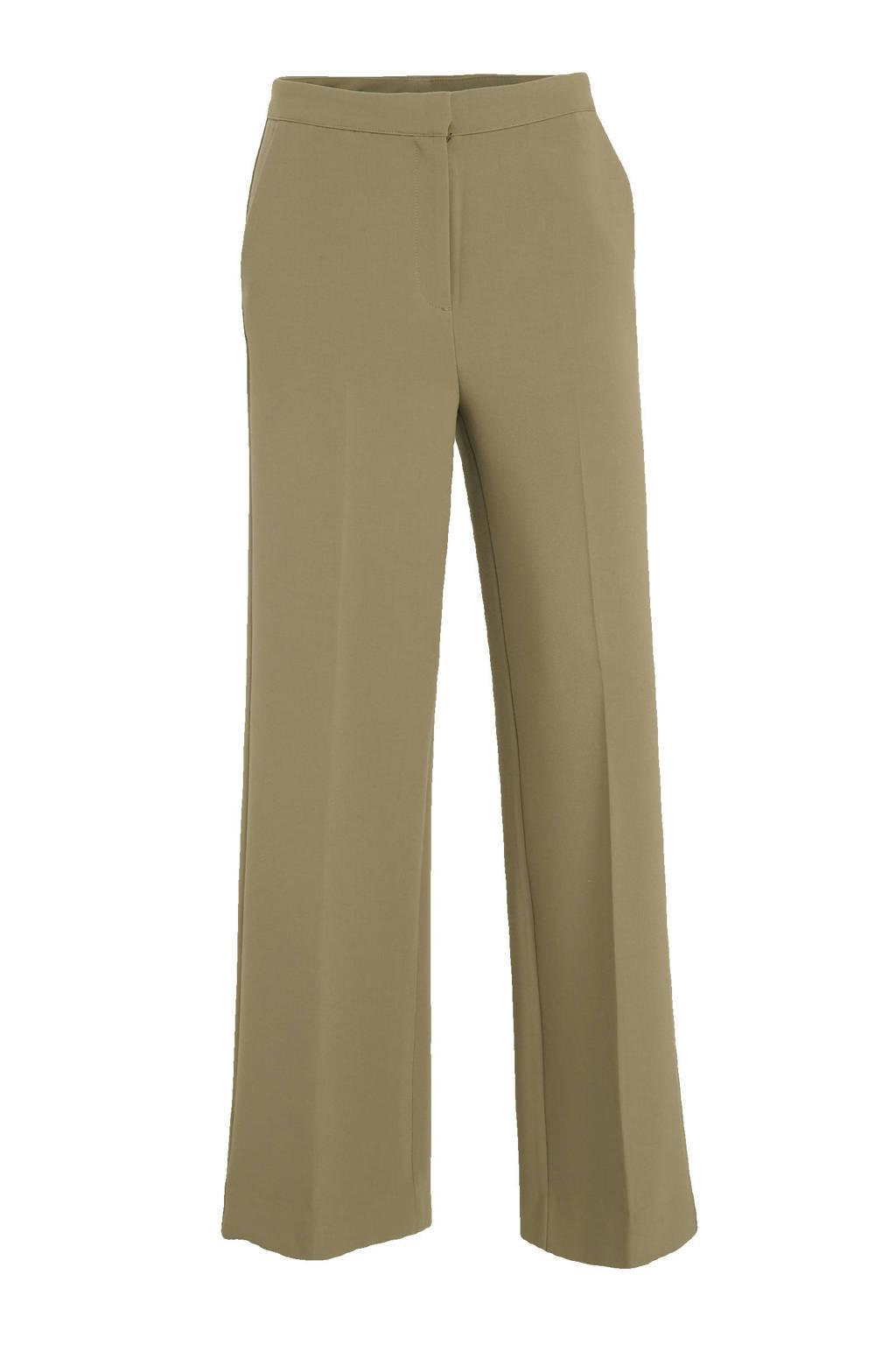 Another-Label high waist straight fit broek Moore groen, Groen