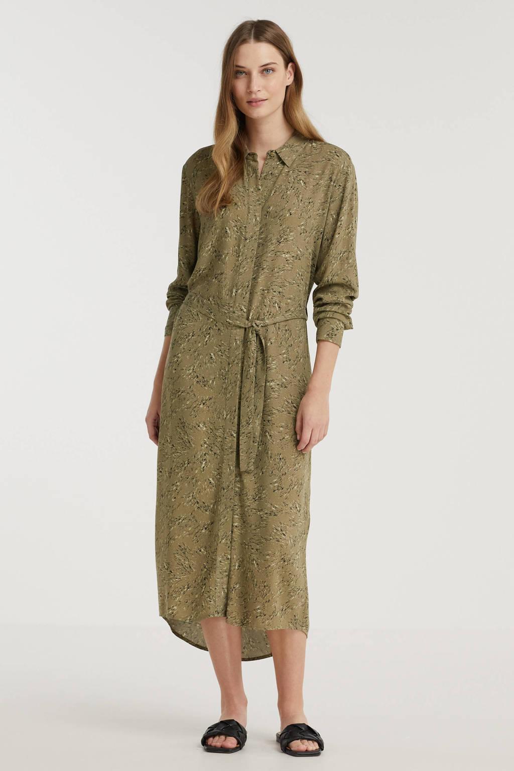 Another-Label blousejurk Bunjinrock met all over print en ceintuur groen, Groen