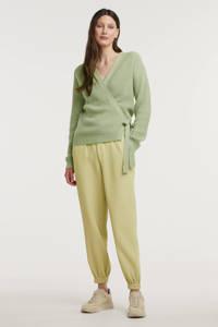 Another-Label straight fit geweven broek Dulice met textuur lichtgroen, Lichtgroen