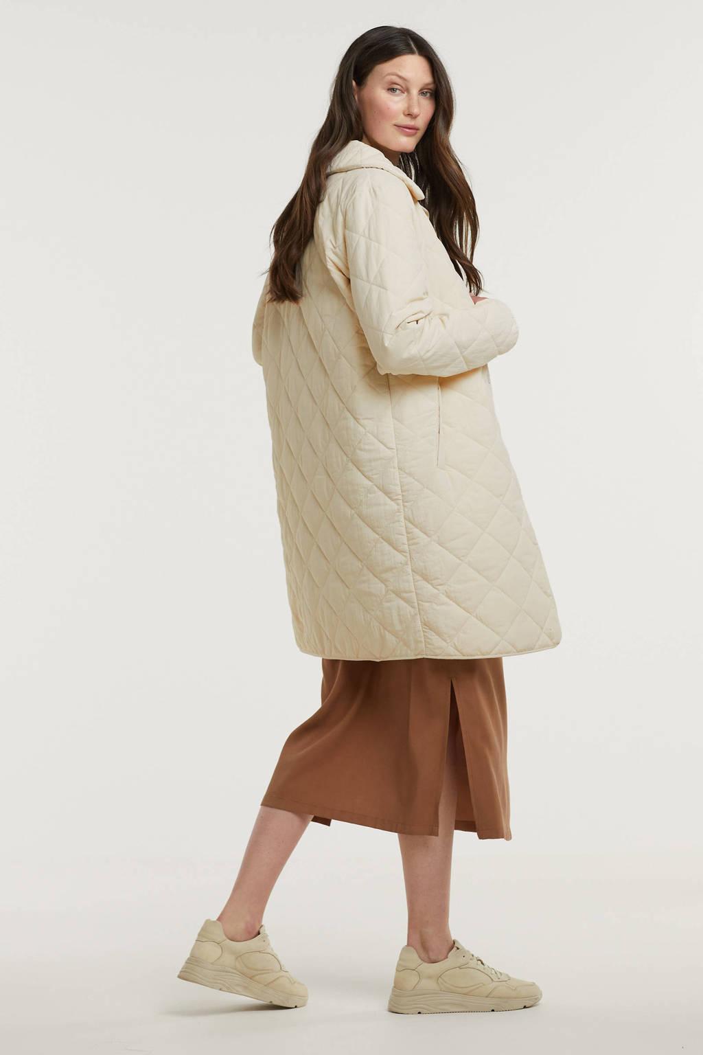Another-Label  coat Danae van gerecycled polyester gebroken wit, Gebroken wit