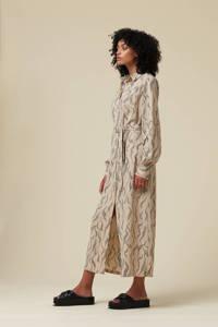 Another-Label blousejurk Chaniwa met all over print en ceintuur beige, Beige