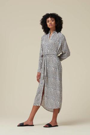 blousejurk Bunjin met all over print lichtgrijs/lichtblauw