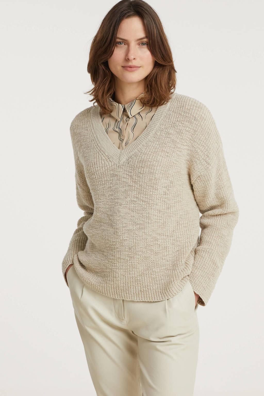 Another-Label gemêleerde gebreide trui Satsuki beige, Beige