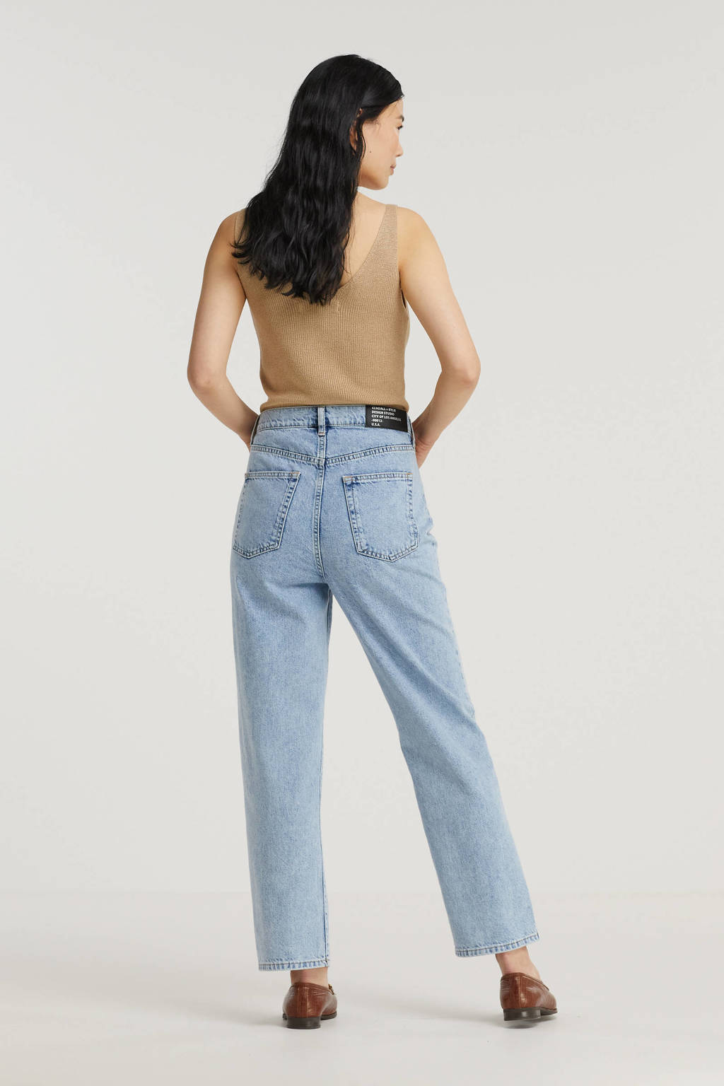 Kendall + Kylie cropped loose fit jeans light wash, Light Wash