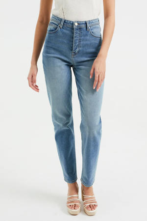 cropped tapered fit jeans blue denim